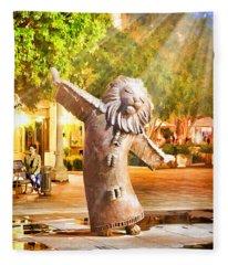 Lion Fountain Fleece Blanket