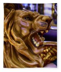 Lion Roaring Carrousel Ride Fleece Blanket