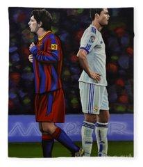 Lionel Messi And Cristiano Ronaldo Fleece Blanket