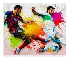 Lionel Messi Of Fc Barcelona Fleece Blanket