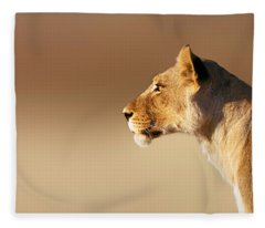Lioness Portrait Fleece Blanket