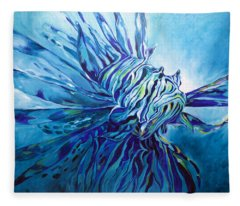 Lionfish Abstract Blue Fleece Blanket