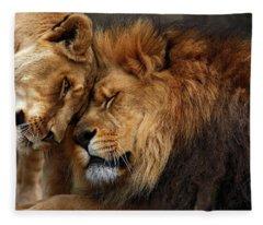 Lions In Love Fleece Blanket
