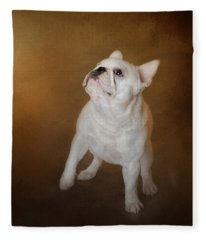 Little Beggar - White French Bulldog Fleece Blanket