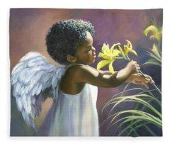 Little Black Angel Fleece Blanket