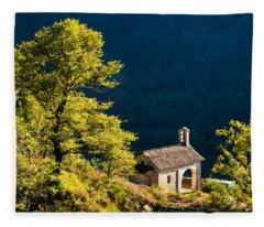 Little Chapel In Ticino With Beautiful Green Trees Fleece Blanket