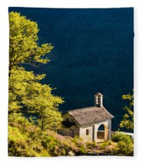 Little Chapel In Ticino With Beautiful Green Trees Fleece Blanket