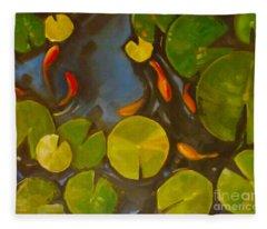 Little Fish Koi Goldfish Pond Fleece Blanket