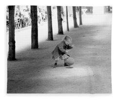Little Girl With Ball Paris Fleece Blanket