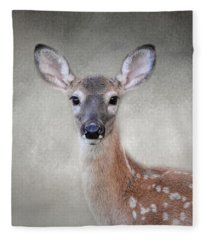 Little Miss Lashes - White Tailed Deer - Fawn Fleece Blanket