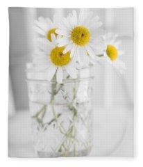 Little White Daisy Flowers Over White Fleece Blanket