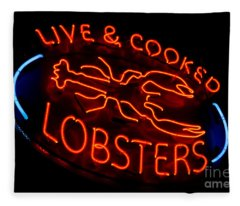 Live And Cooked Lobsters Old Neon Light Store Sign Fleece Blanket