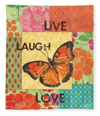 Live Laugh Love Patch Fleece Blanket