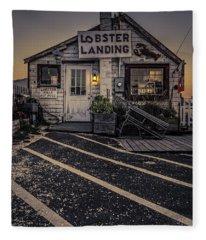 Lobster Landing Shack Restaurant At Sunset Fleece Blanket