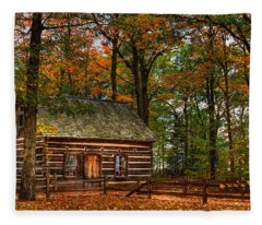 Log Cabin In Autumn Color Fleece Blanket