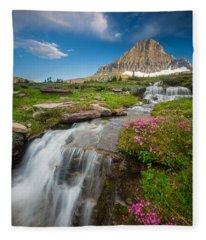 Logan Pass Cascades Fleece Blanket