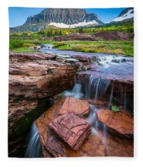 Logan Pass Waterfall Fleece Blanket