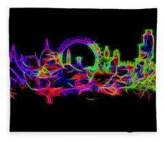 London England Skyline Neon Fleece Blanket