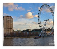 London Eye And Shell Building Fleece Blanket