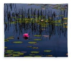 Lone Pink Water Lily  Fleece Blanket