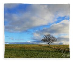 Lone Tree At Epsom Downs Uk Fleece Blanket