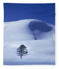 Lonely Tree In Winter Yellowstone National Park Fleece Blanket