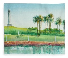 Long Beach Lighthouse Fleece Blanket