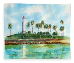 Long Beach Lighthouse  Version 2 Fleece Blanket