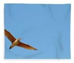 Long-billed Curlew In Flight Fleece Blanket