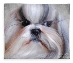 Long Haired Shih Tzu Fleece Blanket