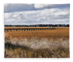 Long Marsh Dock Fleece Blanket