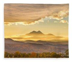 Longs Peak Autumn Sunset Fleece Blanket