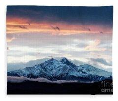 Longs Peak In Winter Fleece Blanket