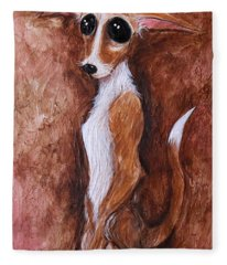 Loretta Chihuahua Big Eyes  Fleece Blanket