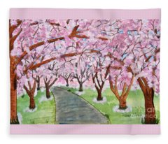 Lost In Pink Cherry Trees Art Fleece Blanket
