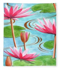 Lotus Flower Fleece Blanket