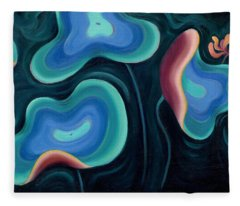 Fleece Blanket featuring the painting Lotus Reggae by Sandi Whetzel