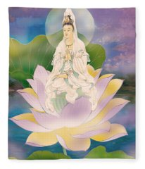 Lotus-sitting Avalokitesvara  Fleece Blanket