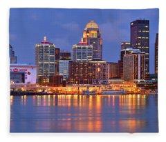 Louisville Skyline At Dusk Sunset Panorama Kentucky Fleece Blanket