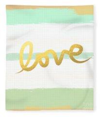 Love In Mint And Gold Fleece Blanket