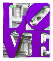 Love Philadelphia Purple Fleece Blanket