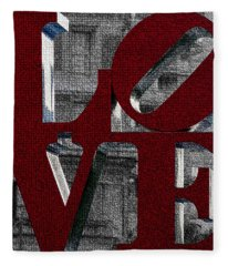 Love Philadelphia Red Mosaic Fleece Blanket