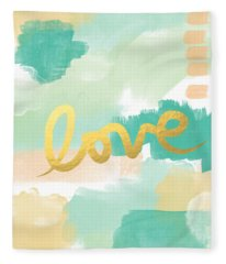 Love With Peach And Mint Fleece Blanket