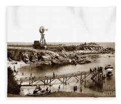 Lovers Point Beach And Old Wooden Pier Pacific Grove August 18 1900 Fleece Blanket