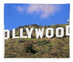 Low Angle View Of A Hollywood Sign Fleece Blanket