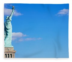 Low Angle View Of A Statue, Statue Fleece Blanket