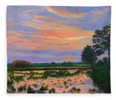 Loxahatchee Sunset Fleece Blanket