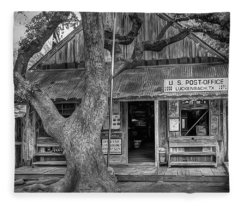 Luckenbach 2 Black And White Fleece Blanket