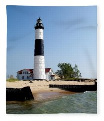 Ludington Michigan's Big Sable Lighthouse Fleece Blanket