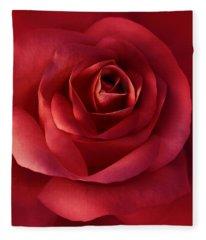 Luminous Scarlet Rose Flower Fleece Blanket